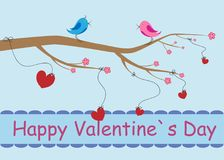 Two loving birds sit on a tree branch and sing. I love you.Happy Valentine`s day vector card and lettering. Singing birds on a tree and hearts tied to branches Stock Image