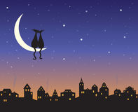 Two loving cats on a moon. Above the night city skyline Stock Photos