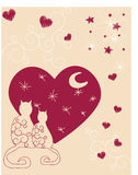 Two loving cats sit under the moon. Vectors illustration Stock Illustration
