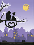 Two loving cats on a tree above the night city. Skyline.  illustration Royalty Free Stock Images