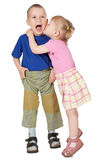 Two loving child stock images