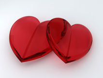Two Loving heart. Two glass loving heart stock photos