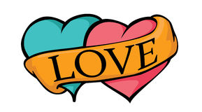 Two loving hearts. With banner royalty free illustration