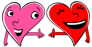 Two Loving hearts. Two cartoon Hearts expressing love and friendship. Holding hands Stock Photo