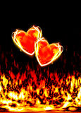 Two loving hearts, burning in the flames of love. On a black background vector illustration