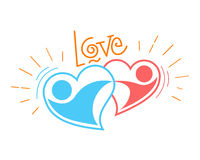 Two loving hearts in a dance. Icon of two loving hearts in a dance Royalty Free Stock Photo