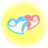 Two loving hearts in a dance. Icon of two loving hearts in a dance Stock Photo