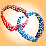 Two loving hearts. Of many small hearts entwined together Stock Image