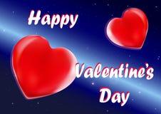 Two loving hearts on orbit, vector Stock Image