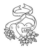 Two loving hearts on tied with ribbon. Tattoo hearts in flowers. Love. Black and white illustration for Valentines Day. Two loving hearts on tied with ribbon Royalty Free Stock Images