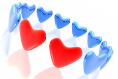 Two loving hearts together Stock Images