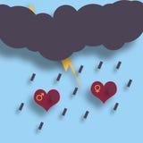 Two loving hearts under the thunder, lightning and rain Royalty Free Stock Photos