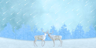 Two Loving Reindeer Gazing Meteor Shower Stock Images
