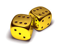 Two lucky gold dice. Isolated on white Royalty Free Stock Photo