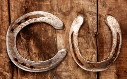Two lucky horseshoes Stock Image