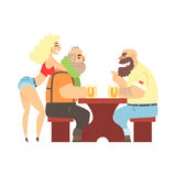 Two Lumberjacks Chatting At The Table With Sexy Waitress Leaning At Ones Back, Beer Bar And Criminal Looking Muscly Men Royalty Free Stock Photos