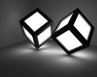 Two luminous cubes. Royalty Free Stock Images