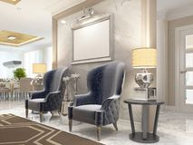 Two luxurious armchairs in the style of art Deco. Royalty Free Stock Images