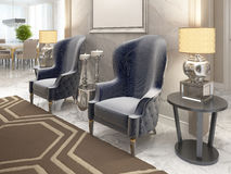 Two luxurious armchairs in the style of art Deco. Stock Image