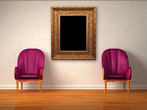 Two luxurious chairs with antique frame Stock Images