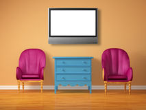 Two luxurious chairs with blue bedside and lcd tv Royalty Free Stock Photo