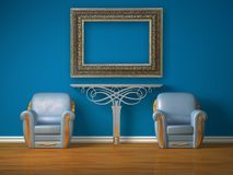 Two luxurious chairs with metallic table and frame Royalty Free Stock Photos