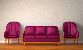 Two luxurious chairs with purple couch Stock Image