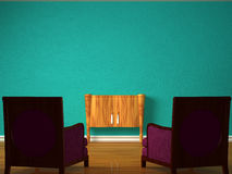 Two luxurious chairs with wooden console Stock Photos