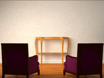 Two luxurious chairs with wooden table Stock Photo