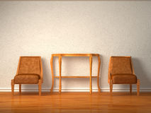 Two luxurious chairs with wooden table Royalty Free Stock Photography