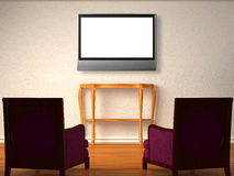 Two luxurious chairs with wooden table and lcd tv Royalty Free Stock Photo