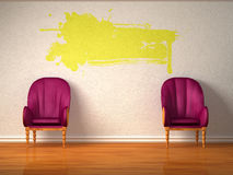 Two luxurious chairs with yellow splash Royalty Free Stock Image