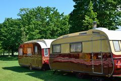 Two luxury caravans Royalty Free Stock Photos