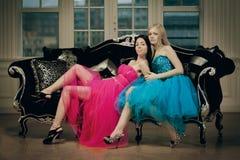 Two luxury fashion woman royalty free stock photo