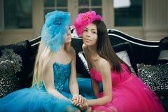 Two luxury fashion woman Royalty Free Stock Image
