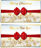 Two luxury greeting cards. Merry Christmas and Happy New Year two luxury greeting cards. Vector illustration Stock Photography