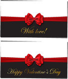 Two luxury greetings card congratulating Valentines day Royalty Free Stock Photos