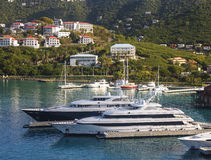 Two Luxury Yachts on Coast of St Thomas Royalty Free Stock Photography