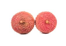 Two lychee fruit Stock Photos