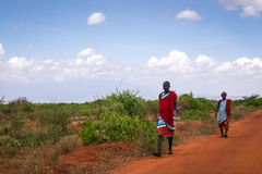 Two maasai men in traditional clothes, Kenya Stock Image