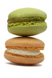 Two Macarons. Macro image of two macarons against a white background Stock Images