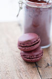 Two macaroons and cocoa Royalty Free Stock Images