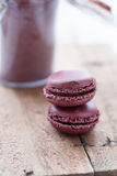 Two macaroons and cocoa Stock Image