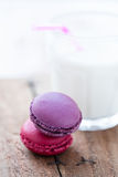 Two macaroons and milk Royalty Free Stock Image