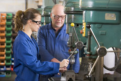 Two Machinists Working On Machine Royalty Free Stock Photography