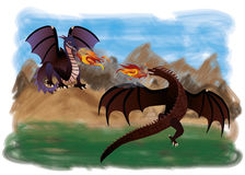 Two magical dragons. Vector illustration Royalty Free Stock Photo