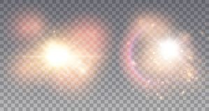 Two magical explosions. With colorful particles, dust and raibow. Golden stars illustration Royalty Free Stock Photography