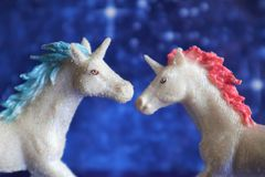 Two magical unicorn royalty free stock photography