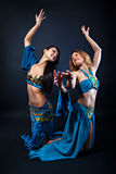 Two magnificent female dancers Stock Images