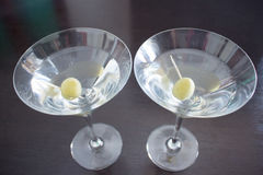 Two magnificent Martini cocktails stock photography